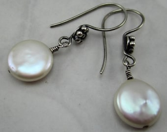 White Freshwater Coin Pearl and Sterling Silver Earrings