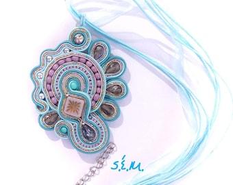 BLUE-Mallow asymmetric soutache necklace
