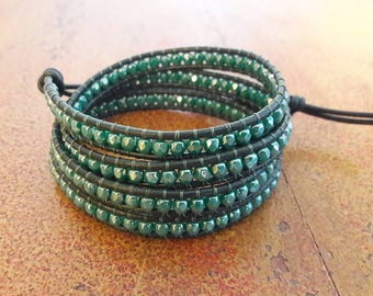 Green leather bracelet//Women's wrap bracelet//Luu Chan style bracelet//leather and crystals//Boho bracelet