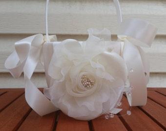 SALE - Wedding Flower Basket, Flower Girl Basket, Flower Basket  - Style BKF101