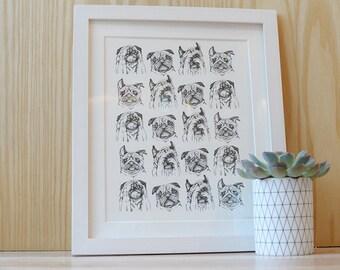 Pug face print - Pug gift