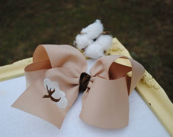 Cotton Boll Hair Bow - X Large Bow with Cotton Branch - Embroidered Hair Accessory - Fall Hairbow - Southern Bow - 6 Inch Bow - Jumbo Ribbon
