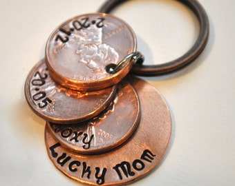 Moms Hand stamped Lucky custom Copper penny keychain Stamped with Children's names