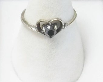 Signed Wheeler mfg Company Vintage 1960's Hematite Sterling Silver Heart Ring Fine Jewelry Gift For Her or Tween on Esty