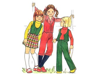 Girls Retro Vest, Pleated Skirt, Shorts, Pants Pattern Butterick 5604 Waistcoat, Trousers Girls Size 6X Vintage Sewing Pattern