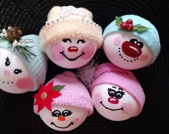 Set of 5 Snowman Christmas Ornaments