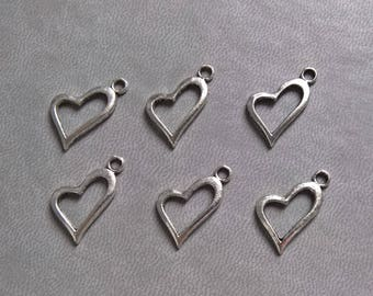 10 silver heart charm, pendant silver plated 20mm M32