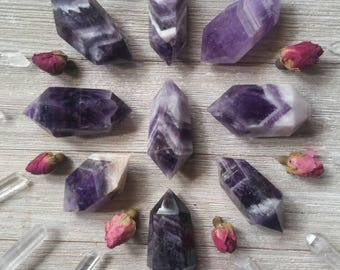 Dream Amethyst ~ Chevron Amethyst ~ Double Terminated Points ~ Divine Inspiration ~ Dream Crystal ~ Spiritual Gifts