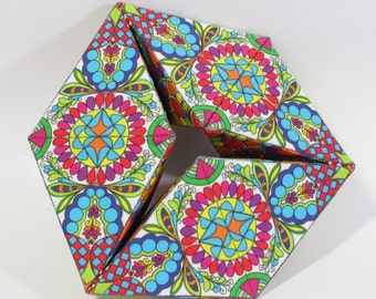 TetraSpinner! also called kaleidocycle  or cyclic tetrahedron. Specially designed fabric, easy instructions to sew and stitch a fun gift.