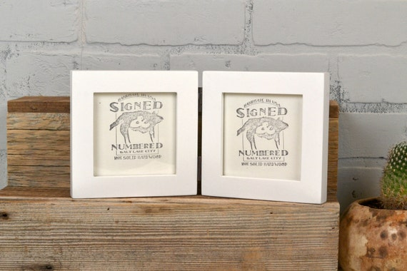 Two 4x4 Square Picture Frames in 1x1 Flat Style Hinged
