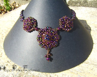 Necklace tutorial, tutorial beads, patterns beaded necklace, beads, Gloria necklace instructions