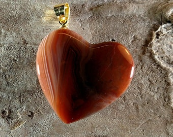 Lake Superior Agate Heart Pendant Necklace