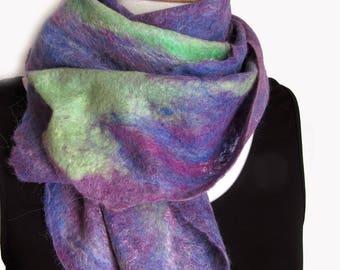 Purple Wool Alpaca Scarf - Green and Purple - Soft Wool Neckscarf