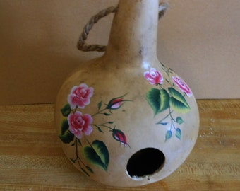 Hand Painted Gourd Birdhouse with Bright Pink Roses