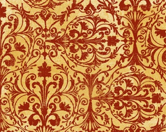Windflower Flannel - Red Damask Fabric