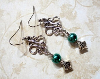 Teal and Silver Filigree Earrings (3965)