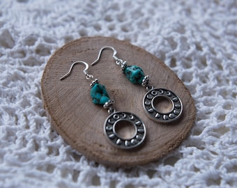 Lunar Moon Phrase Turquoise Stone Earrings Silver Dangly