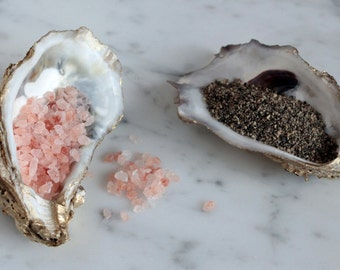 Gilded oyster salt and pepper cellars