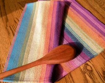 Tea Towel Handwoven- Rainbow Stripes, Purple Tone, Guest Towel, Kitchen Towel, Hand Towel, Hostess Towel