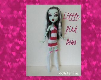 "SALE = Monster High 17"" Doll Clothes - Pink Striped Dress + Thigh-High Stockings + Jewelry - Handmade custom fashion by dolls4emma"