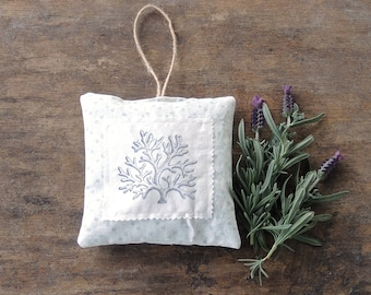 Coral Hand Stamped Lavender Hanging Sachet Organic Lavender, Lavender Pillows, Natural Aroma Therapy Modern Beach Cottage