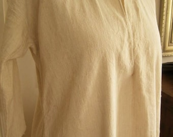 Pure Unbleached Hemp/Linen Antique French Smock Chemise, Romantic Nightshirt, Brocante, Art, Nightgown, Traditional Country Shift, No 1
