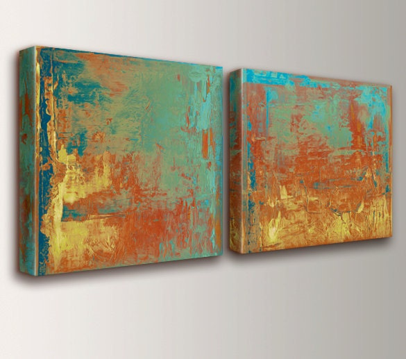 Abstract Art Canvas Art Teal Orange Amp Yellow Abstract