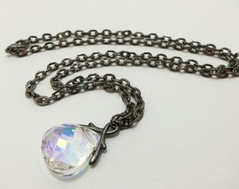 Crystal Clear Necklace Crystal Briolette Pendant Gunmetal Jewelry