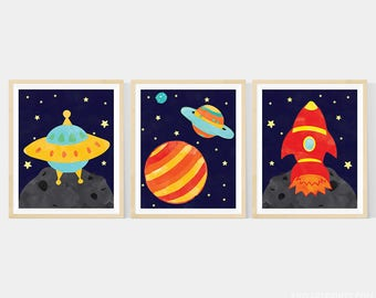Outer Space Nursery Art , Set of 3-  8x10 Prints , Featuring A Rocket, Spaceship, & Planets