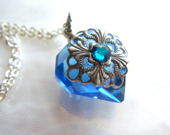 Blue Diamond Essential Oil / Perfume Bottle Necklace
