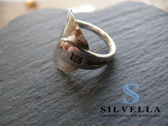 Sterling Silver Antique Spoon Ring - Hallmarked Ring