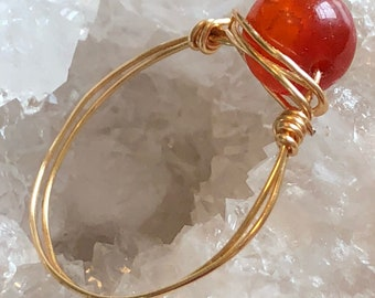 Dyed Fire Agate Wire Wrap Ring