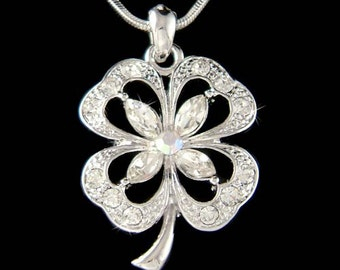 Swarovski Crystal Irish Saint St Patrick's Paddy's Day Lucky Clear Four Leaf CLOVER SHAMROCK Pendant Charm Chain Necklace New Christmas Gift