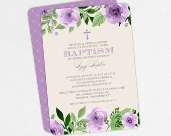 Baptism Invitation, Christening Invitation, Girl Baptism, Printable Baptism Invitation, PDF, Flower, Floral, Watercolor, Cross, Purple, Lucy