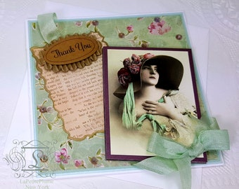 Catherine Of Avonlee, Thank You Single Blank Note Card, Creamy White European Flap Envelope Included.