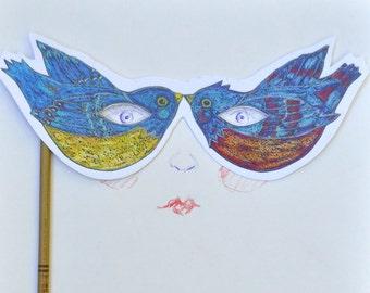 Birds Hand-Held Mask