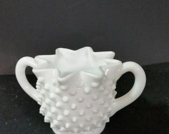 Fenton Milk Glass hobnail sugar bowl. 3 1/2 inches across 2 3/4 inches tall