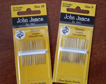 Hand Sewing Needles -- Applique or Embroidery -- John James Needles -- Size 8, Size 9, or Size 10 -- Your Choice