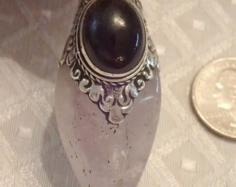 Polished Amethyst Quartz Point with Labradorite Cab in Sterling Pendant