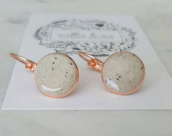 Rose gold and glazed sandy clay drop earrings