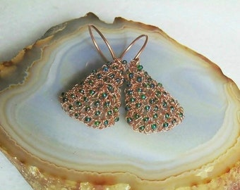 Copper earrings, wire, crochet, copper, green, boho, earrings, boho earrings, dangle earrings, wire crochet, jewelry, bohemian jewelry