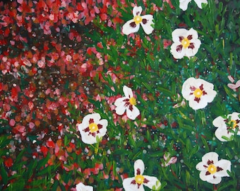Large (A3) Giclee fine art print of original acrylic painting of flowers