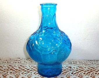 Vintage Wheaton Bottle, Blue Art Glass Vase, Jar, Fruit Design  (460-13)