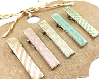 Gold and Pastel Alligator Hair Clips - Set of 5 Pastel Hair Clips with Optional No-Slip Grip - Choose a Size - Gift for Her - ajoyfulmorning