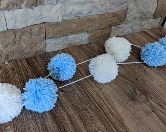 Pom pom hand knitted baby boy yarn garland