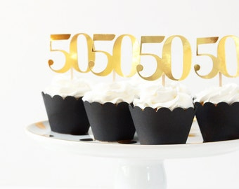 50th Birthday Cupcake Toppers Gold Metallic 50 Cake Topper Age Number Cupcake Topper Girls Birthday Party Supplies Black and Gold Foil Party