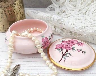 Pretty Pink Royal Adderley Trinket Box - Vintage