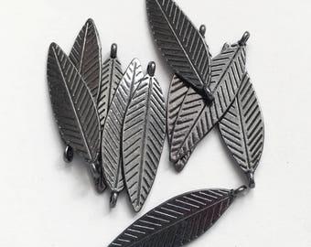 Bulk 80 pcs Gunmetal double sided feather drop 30x10mm, alloy feather charm, black feather charm