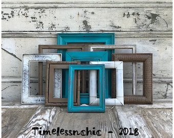 PICTURE FRAME Set Wood Picture Frames Rustic Picture Frame - Wooden Picture Frame - Turquoise Picture Frame - Set of Frames for Wall