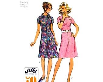 Vintage 70s Dress Pattern Simplicity 5041 Raglan Sleeve Roll Collar Dress Womens Sewing Pattern Bust 37 Half Size